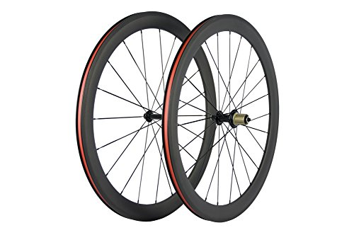 (Superteam Carbon Fiber Road Bike Wheels 50mm Clincher Wheelset 700c Racing Bike Wheel (Shimano Body))