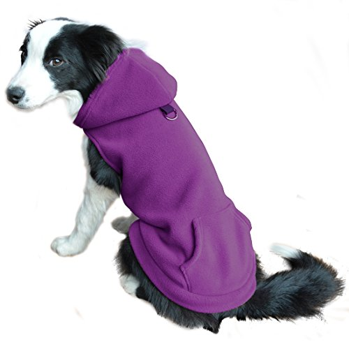 EXPAWLORER Fleece Dog Clothes with Pocket, Cold Weather Spring Vest Sweatshirt Hoodie with O-Ring, Purple M