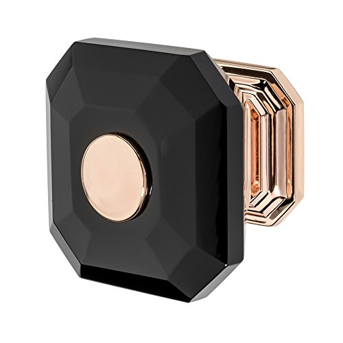 Wisdom Stone 4222RG-B Clubhouse Knob Clubhouse 1-5/16 In. Rose Gold with Black Crystal Cabinet Knob, Rose Gold Finish/Black (Rose Gold Finish)