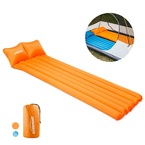 Overmont Portable Inflating Dampproof Mattress Sleeping Mat Air Bed Camping Gear by