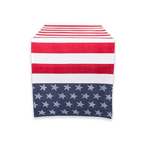 """DII 100% Cotton, Machine Washable, Table Runner For Summer Parties, 4th of July Events, Independence Day Decor 14x54"""" - Stars & Stripes"""
