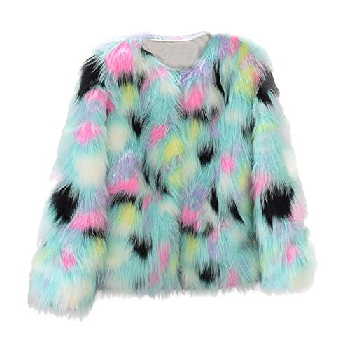 Misaky Coat for Women, Autumn Winter Warm Faux Fur Jacket Gradient Color Parka Outerwear(Multicolor ,XX-Large) (Holiday Faux Florals)
