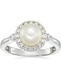 Sterling Silver Freshwater Cultured White Pearl and Lab Created White Sapphire Ring
