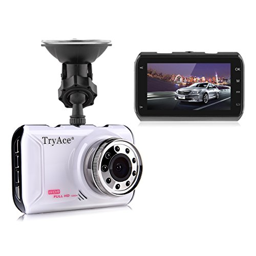 Dash Cam, TryAce 1080P Car DVR Dashboard Camera Full HD 3' LCD Screen 170°Wide Angle, WDR, G-Sensor, Loop Recording Motion Detection (FH05)