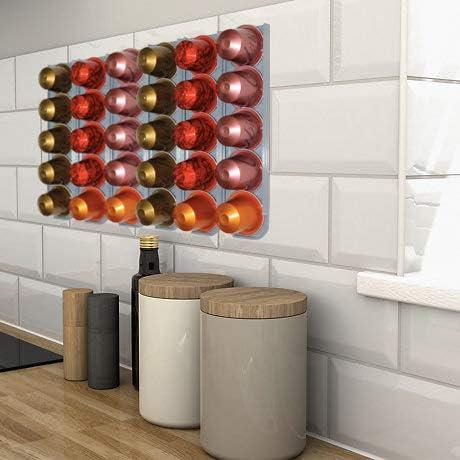 R&R SHOP – Porta Capsule per Nespresso, Incollabile su ogni Superficie tipo Muri, Frigorifero e Compatibile con Macchine Caffè Nespresso con Adesivi 3M, 5 Capsule cadauno – Set di 3