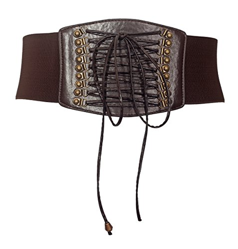 [eVogues Plus size Faux Leather Corset Look Elastic Belt Brown - One Size Plus] (Brown Leather Corset)