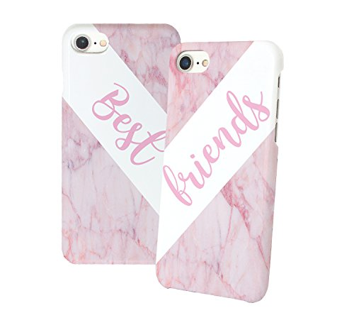 Best Friends Pink Marble Matching iPhone Protective Hard PC Case Cover for Couples Best Friends in Relationship Present BFF Bae for iPhone 6 6s 7 7plus 8 X 3D Print