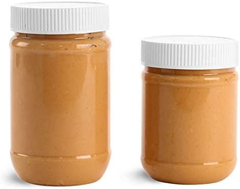 17 oz transparente PET de mantequilla de cacahuete tarros W/blanco ...