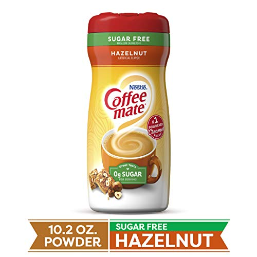 COFFEE MATE Sugar Free Hazelnut Powder Coffee Creamer 10.2 Oz. Canister | Non-dairy, Lactose Free, Gluten Free Creamer
