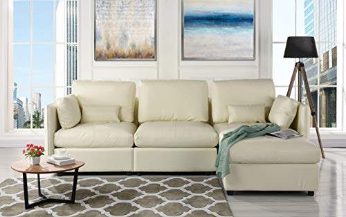 L-Shape Living Room Leather Match Sectional Sofa, Right Facing Chaise Lounge (Ivory)