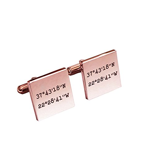 Sahaa Personalized 925 Sterling Silver Jewelry Wedding Cufflinks Men,Custom Made Any Initials (Rose Gold)