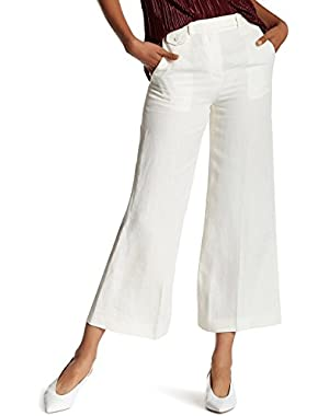 Warm Ivory Womens Cropped Wide Leg Linen Pants White Ivory 4