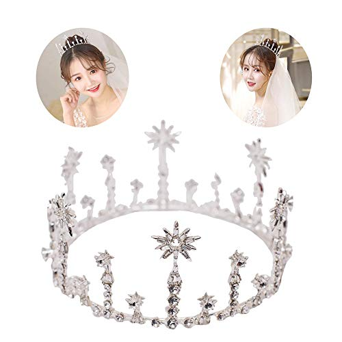roroz Rhinestone Classic Magic Bride Round Crown, Bridal Jewelry Crystal Silver, Wedding Tiara Outdoor Wedding Princess Jewelry Accessories,Silver -