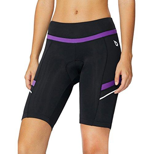 BALEAF Womens Bicycle Padded Shorts High Waist UPF 50+ Black Purple XL