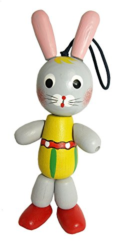 bunny-toy-handpainted-wooden-figurine-on-an-elastic-band-grey-rabbit-doll-5-1-2-tall