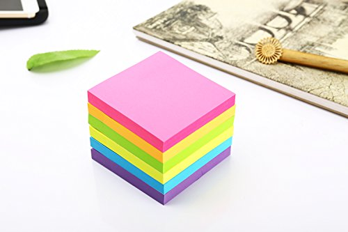 Sticky Notes, 3 in x 3 in, 24 Pads/Pack,100 Sheets/Pad, 6 Bright Colors Self-Stick Notes for Home,Office, School, Easy Post. by ERBAO (Image #2)