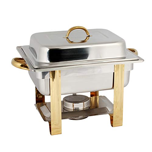 Stainless steel 4 quart gold accented chafer, comes in set