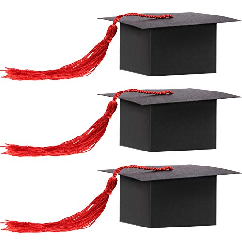 Shaped Tassel (Hestya Graduation Cap Shaped Gift Box Grad Cap Candy Sugar Chocolate Box with Tassel for Graduation Party Favor Accessories (Red, 50 Pieces))