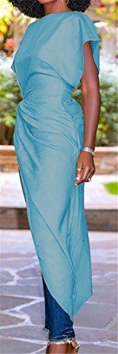 Women Slit Long Dresses Cromoncent Knot Batwing Irregular Wathet Sleeve Ruched Stylish Unx06q0dwB