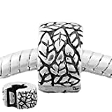 Antique Silver Tone Fall Leaves Clip Lock Stopper Charm Bead Fits Pandora Style Bracelets
