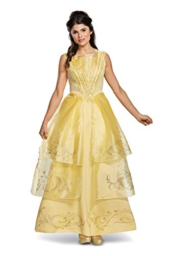 Belle Halloween Costumes Adults (Disney Women's Belle Ball Gown Deluxe Adult Costume, Yellow, Small)