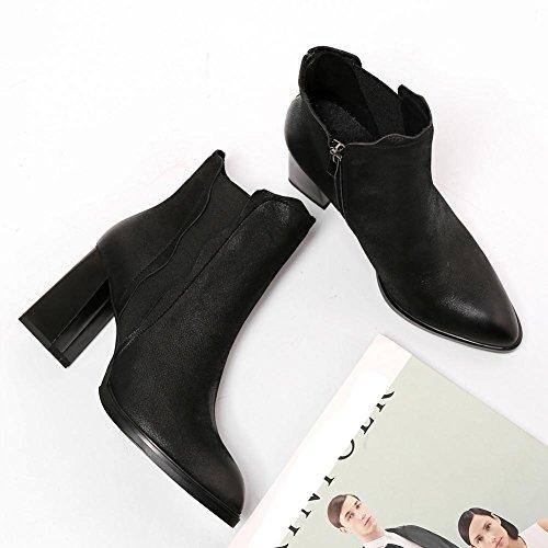 confortevole 36 caviglia spessa cerniera tacchi stivali 38 in scarpe BLACK con BLACK casual alla donne pelle retro laterale alti Martin breve elastico v1wCqf