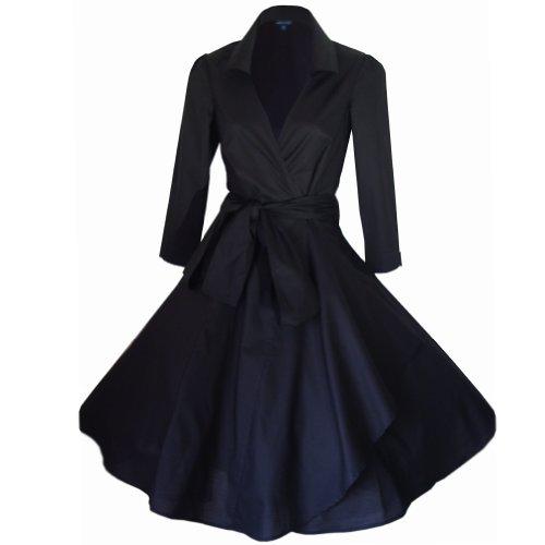 Vintage 40de 50estilo Rockabilly/Swing/Pin Up de algodón Wrap vestido de cóctel Velada Fiesta tamaños 4–�?8* * * UK seller-same día envío para pedidos antes de 3pm * * * Gran gama de colores negro