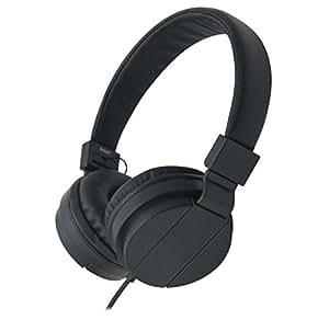 Ake Universal Auricular Music Stereo Headphones Headhand Folding Portable para Phone PC Tablet -Black