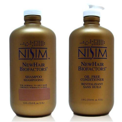 Nisim New Hair Biofactors Shampoo 1 liter & Conditioner 1liter for Normal to Oily Hair