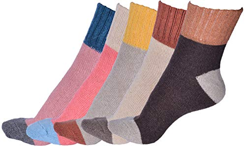 - Yuhan Pretty 5 Pairs Womens Winter Warm Thick Knit Wool Cozy Vintage Crew Socks (Style 1, 5PCS)