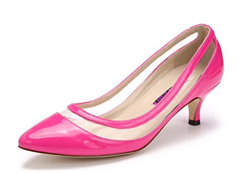 Katypeny Elegant Shallow Toe Pure On Heel Rose Mouth Color Womens Shoes Pump Slip Pointed Kitten rfwqA4r