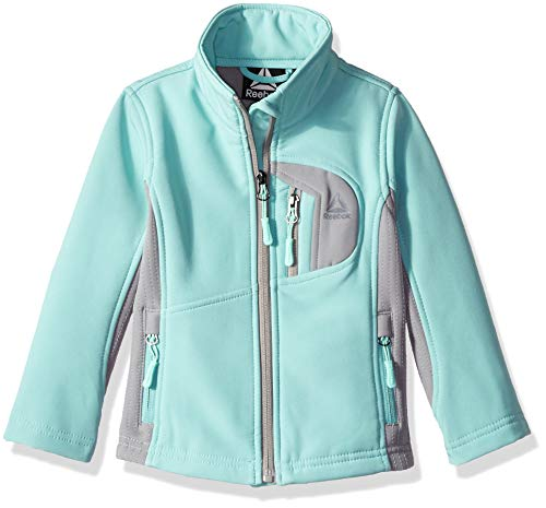 (Reebok Girls' Big Active Softshell Full Zip Jacket, Deep Mint 14/16)