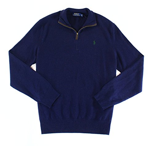 Polo Ralph Lauren Mens Ribbed Trim Long Sleeves Sweater Navy XL