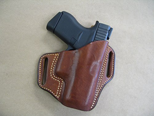 - Glock 42 .380 Leather 2 Slot Molded Concealment Pancake Belt Holster CCW TAN RH