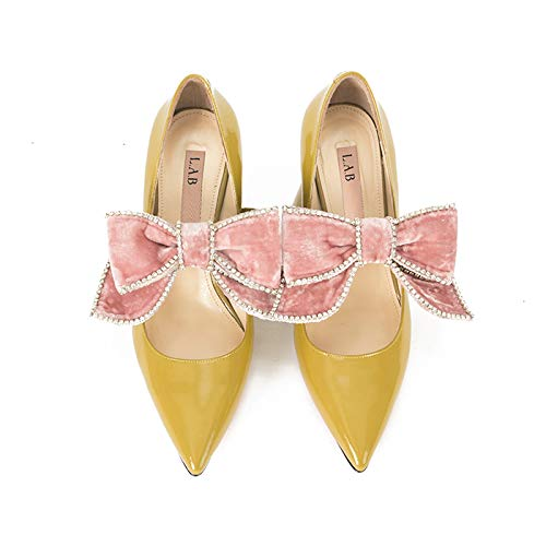 Cone Shoes High Yellow Shoes Face Heeled High Shallow Shoes Women'S Bow Single Mouth Pointed Yukun Thick Diamond heels Women'S With Big With RqZEUUWwp