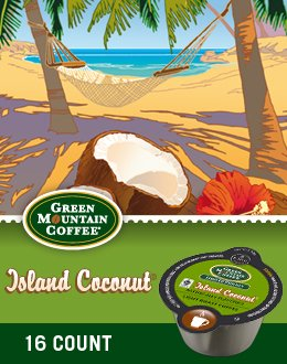 Green Mountain Island Coconut Coffee Keurig Vue Fragment Pack, 32 Count