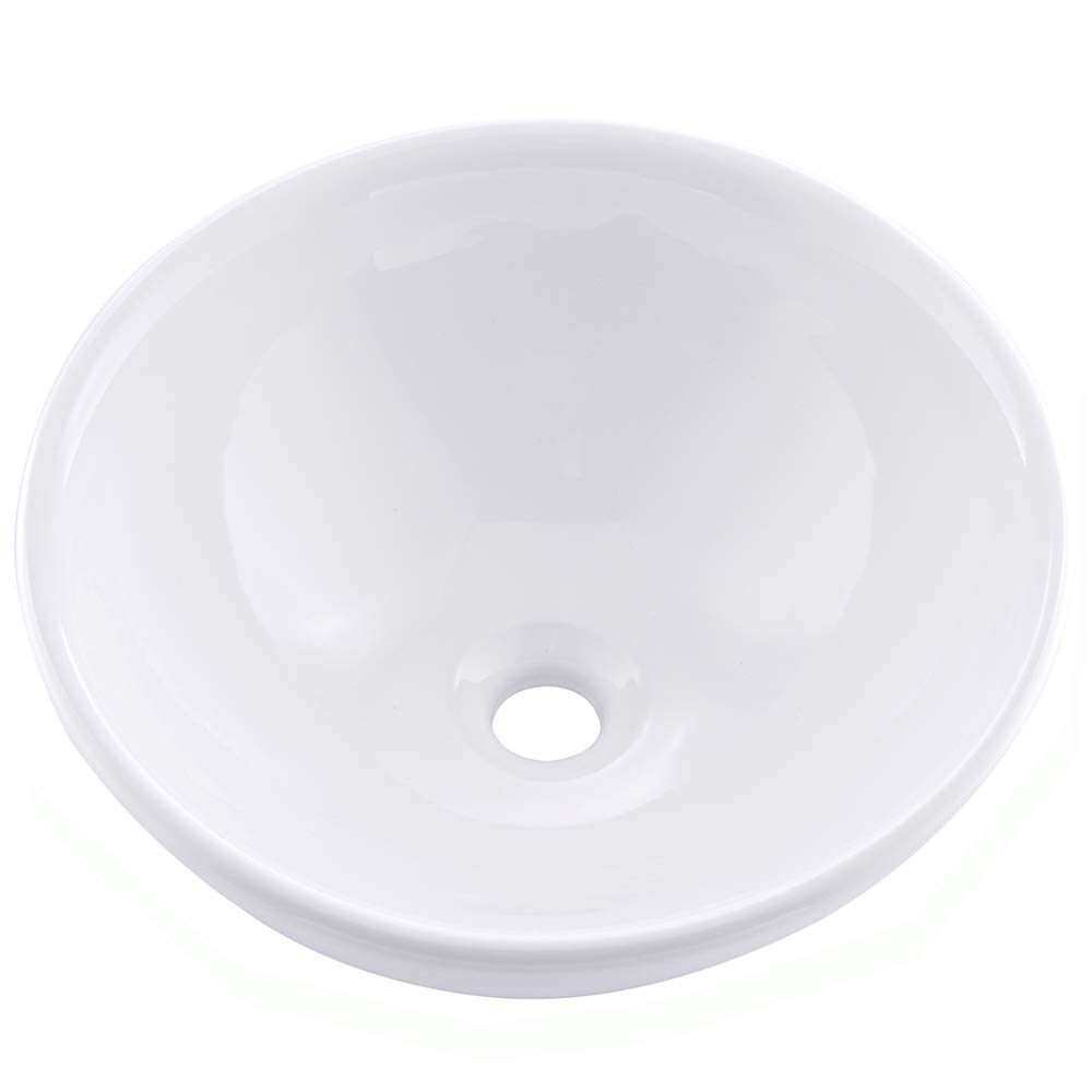 Friho 15.75''x15.75''x6.1'' Modern Above Counter Round Vanity Sink White Porcelain Ceramic Lavatory Bathroom Vessel Sink
