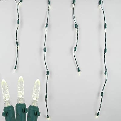 Novelty Lights, Inc. M5 Christmas LED Icicle Light Set, Green Wire, 15' Long, 150 Light