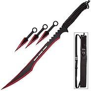 Snake Eye Tactical Ninja Sword and Kunai/Throwing Knife Set with Sheath (BLACK/RED)