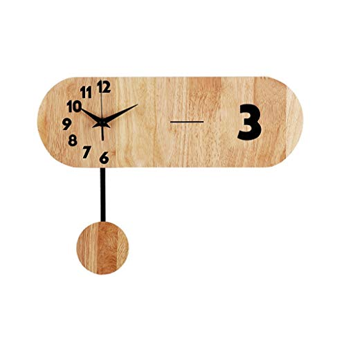 Wall Clock Nordic Solid Wood Mute Modern Fashion Creative Simple Personality Suitable for Living Room Bedroom Decoration 29 cm X40 cm
