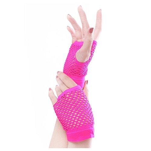 Guantes Fishnet Para Mujer, Inkach Girls Punk Goth Lady Disfraz Dance Costume Lace Fingerless Malla Fishnet Gloves Rose Red