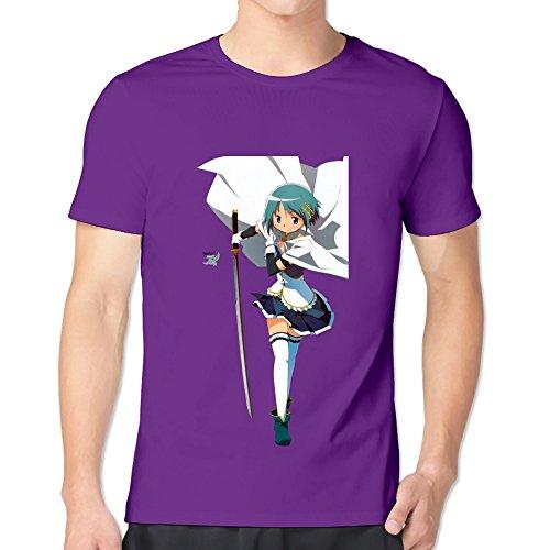 GYKU Men's Puella Magi Madoka Magica T-Shirt Purple US Size M,100% Organic Cotton ()