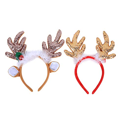 LUOEM 2 Pcs Christmas Reindeer Antlers Headband Reindeer Headband with Ears Xmas Headwear Accessories for Christmas Easter Masquerade Cosplay Party Gift]()