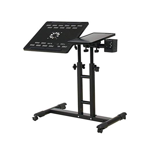 Der Table Desk Portable LaptopDesk Cart with Mouse Board Adjustable Height 360° Swivel and 180° Tilt Lockable Casters (Color : F)