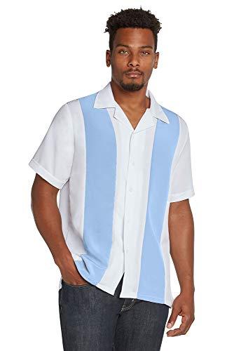 - 9 Crowns Men's Retro Bowling Bahama Camp Button-Down Shirt-L.Blue/White-Medium