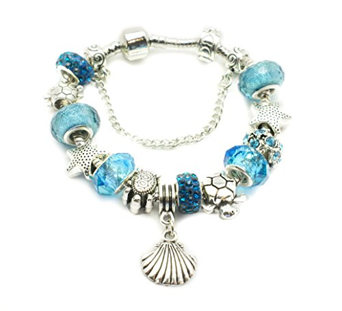 European Ocean Beach Charm Beaded Bracelet 7.5 Inch for Women and Teen Girls Seashell Turtle Starfish Aquamarine Murano Glass Beads Prime Quality Gift 925 Silver - Seashells Quality