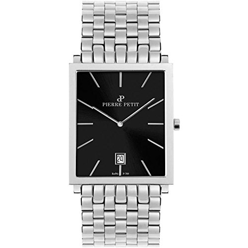 Pierre Petit Men's P-789D Serie Nizza Square Black Dial Stainless-Steel Bracelet Watch