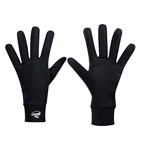 (Compression Lightweight Sport Running Gloves Liner Gloves- Black - Men & Women(L))