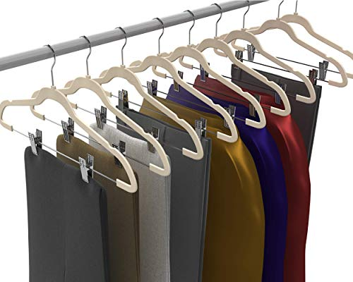 Premium Quality Velvet Pants Hanger Set of 26 - Ultra-Thin No Slip Velvet Skirts Hangers - Swivel Hooks, Space Saving Clothes Hangers - Great For Skirts, Dresses, Suits, Shirts & More - Slim IVORY by TechZoo (Image #2)