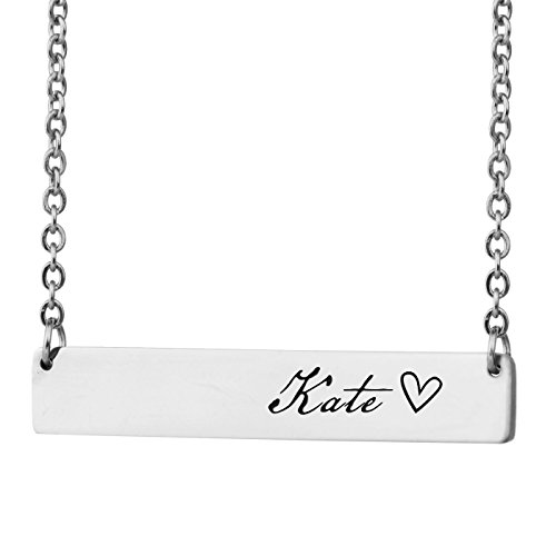 (HUAN XUN Personalized Bar Custom Name Necklace Kate Personal Womens Jewelry Birthday Gift)